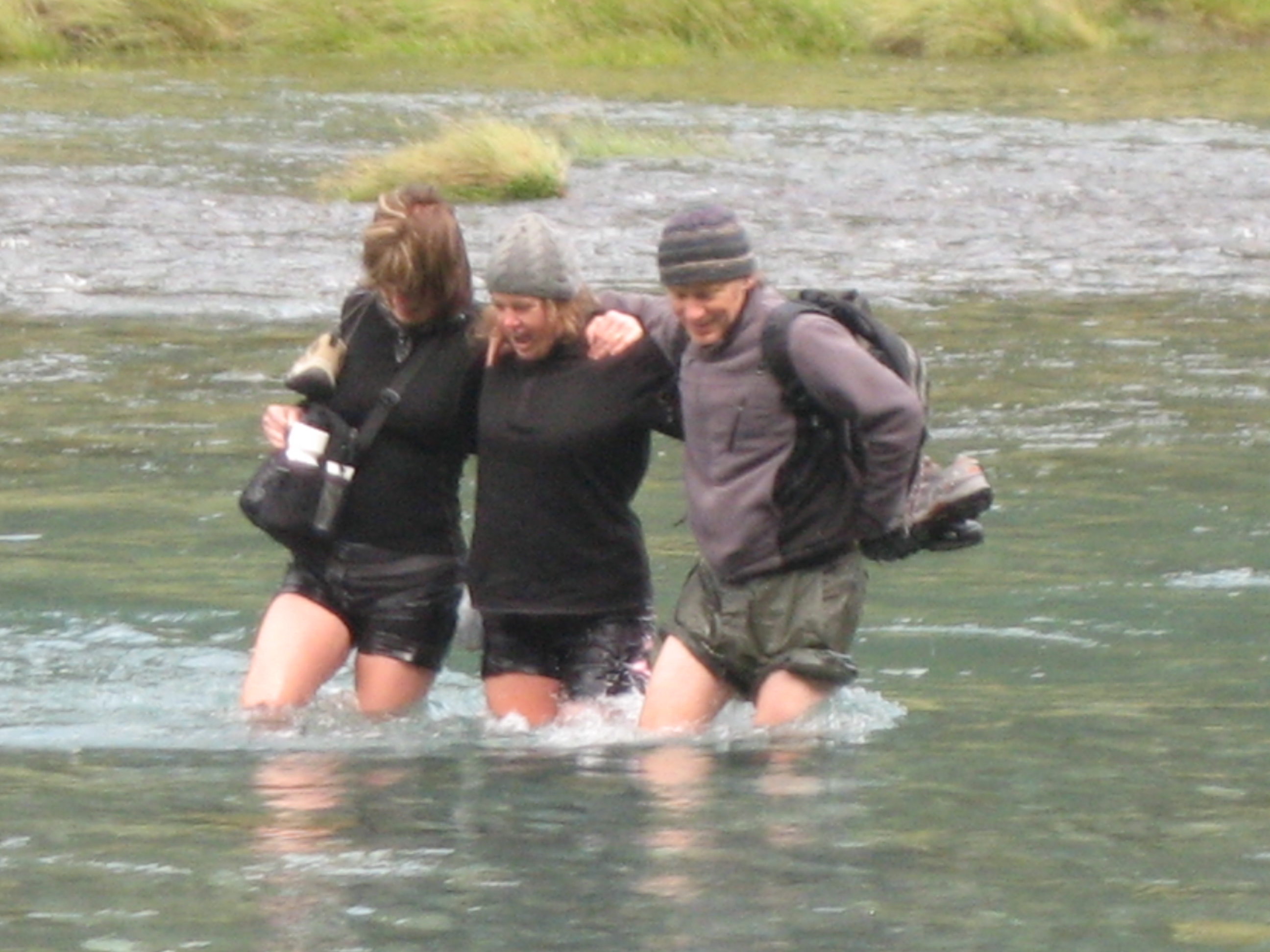 Wading through the glacier melt.  It was the only way to get home.