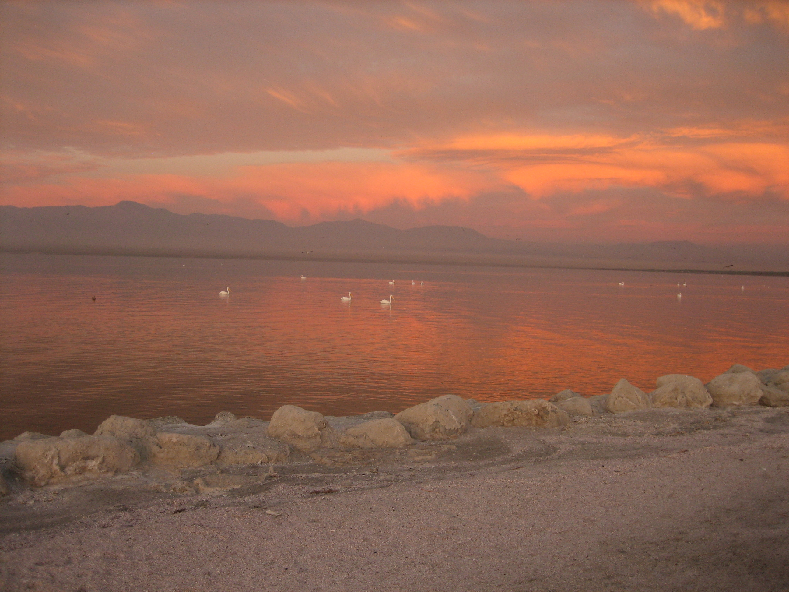 Sunrise at the Salton Sea as seen from my campground